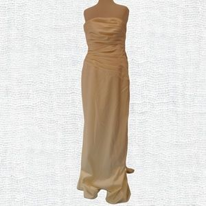 JS Collections Ivory Strapless Satin Gown NWOT